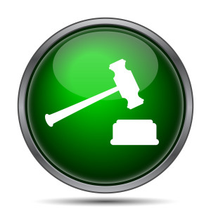Judge hammer icon. Internet button on white background.